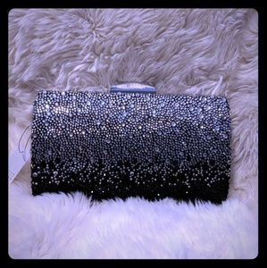 Crystal heaven! Silver and black evening bag